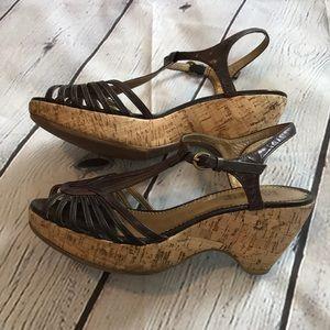 """Franco Sarto """"Varese"""" brown sandal on cork wedge"""